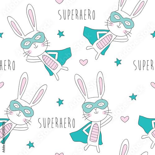 seamless strong superhero bunny rabbit pattern vector illustration