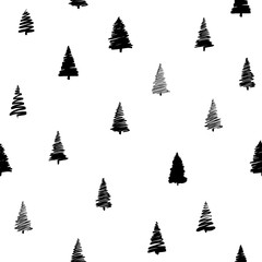 Vector illustration of doodle fir-tree seamless background