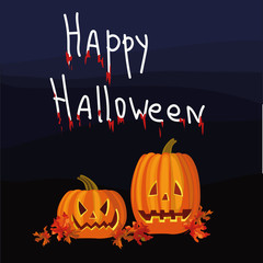 Halloween night background with pumpkins, leaves and hand drawn inscription Happy Halloween. Vector illustration.