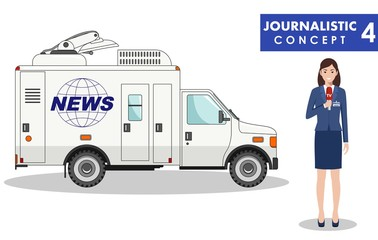 Journalistic concept. Detailed illustration of woman reporter and TV or news car in flat style on white background. Vector illustration.