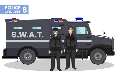 Police concept. Detailed illustration of SWAT officer, policeman and armored car in flat style on white background. Vector illustration.