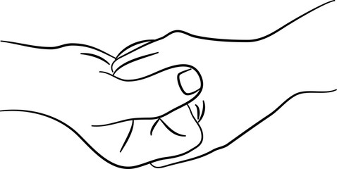 Gripping hands line drawing.