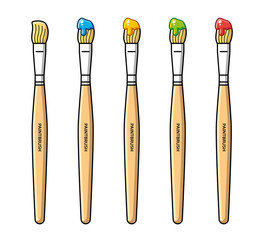 Paintbrushes with paint in different colors, vector icons set isolated.