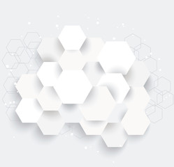 Vector Abstract geometric shape from gray hexagones