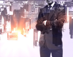 Man on upside-down city background