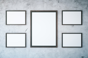 Concrete wall with empty frames