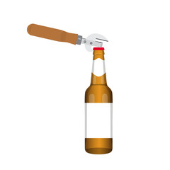 Beer with bottle opener. Opening of the bottle of beer. Vector illustration