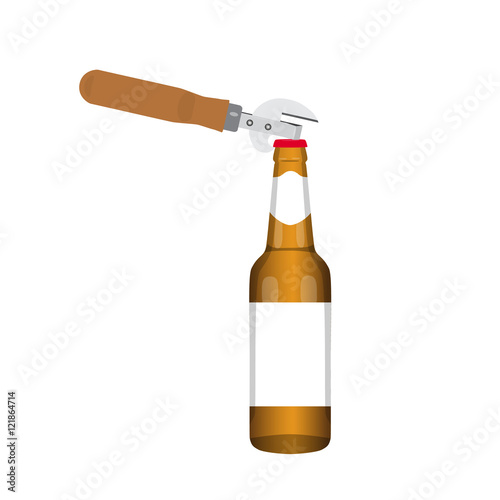 beer with bottle opener opening of the bottle of beer vector illustration stock image and. Black Bedroom Furniture Sets. Home Design Ideas