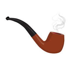 Brown smoking pipe with smoke. Tobacco pipe isolated. Vector illustration