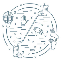 Vector illustration of various subjects for hockey and snowboard