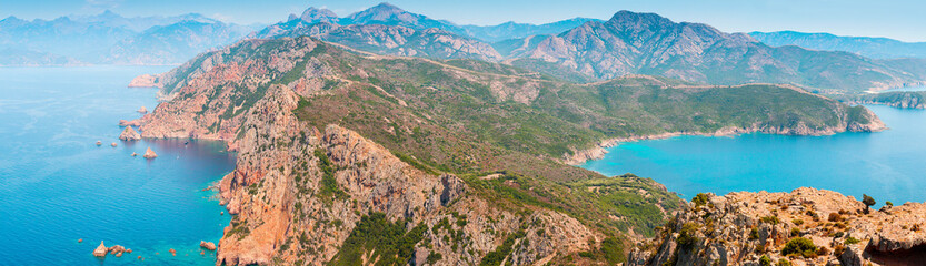 Canvas Prints Pool Piana, South Corsica. Wide panoramic landscape