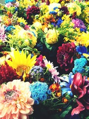 Full Frame Shot Of Multi Colored Flowers At Shop