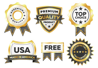 Gold Vector Marketing Labels