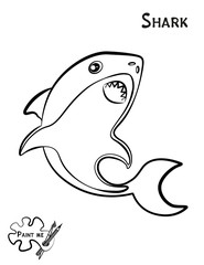 Children's coloring book that says Paint me. Sea life. Shark