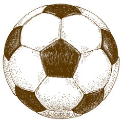 engraving  illustration of football ball