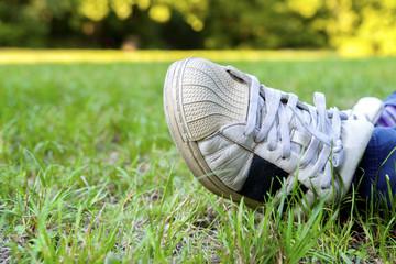 tennis shoe lawn