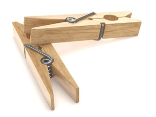 Two wooden clothespins. 3D