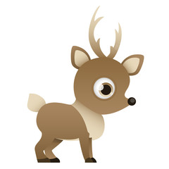 Reindeer isolated on white background. Vector illustration