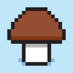 Pixel art, minimalist mushroom porcini, flat web icon, vector design object
