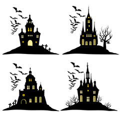 Haunted house. Set of Halloween black castle silhouette with bats and cemetery vector illustration