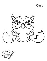 Children's coloring book that says Paint me. Owl