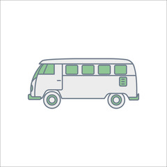 Minibus van travel bus flat sign icon on background