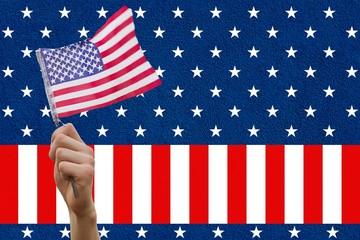 Digital composite of hand holding flag
