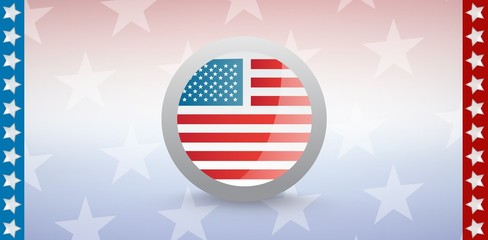 American flag badge with starry background