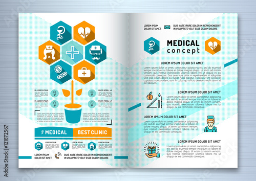 Design Medical Brochure Template A Size Linear Flat Infographics - Infographic brochure template