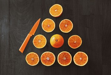 Directly Above Shot Of Orange Slices Arranged On Table