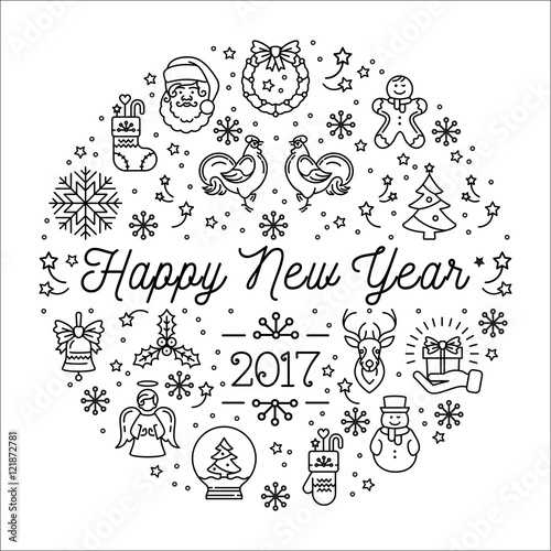 happy new year 2017 design template vector trend circle composition creative christmas collage