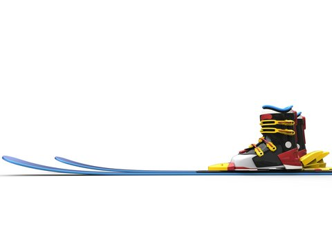 Cool ski equipment - blue skiis, black ski boots with yellow straps