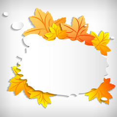 Autumn sale sticker with orange maple leaves