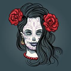 Girl with Sugar Skull Makeup