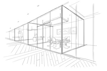Hand drawn sketch of the office space.