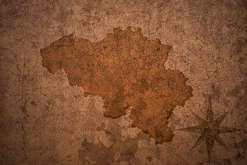 belgium map on vintage crack paper background