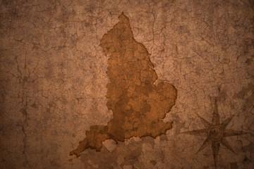 england map on vintage crack paper background