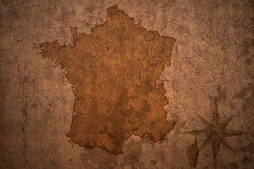 france map on vintage crack paper background