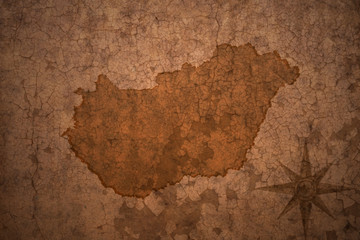 hungary map on vintage crack paper background