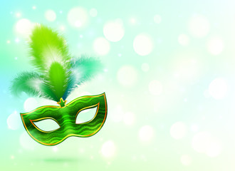 Green carnival mask with feathers vector banner background