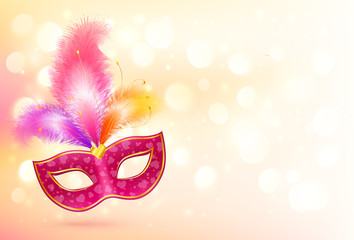 Pink carnival mask with colorful feathers vector banner background