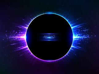 Dark blue vector shining cosmic ring with rays