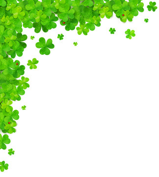 Green clovers vector corner frame element isolated on white