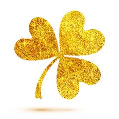 Golden shining glitter glamour vector clover leaf on white background