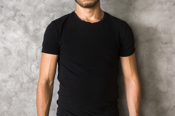 Man in black shirt closeup