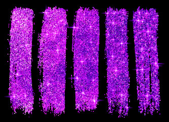 Violet glitter vector brush strokes set isolated at black background