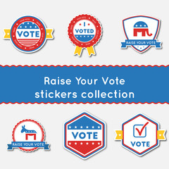 Raise Your Vote stickers set. Buttons collection for USA presidential elections 2016. Pack of blue and red patriotic badges. Round lables vector illustration.