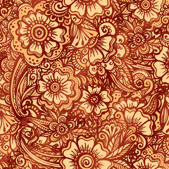 Hand-drawn vector floral seamless pattern in Indian mehndi style