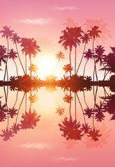 Pink sky romantic vector palms silhouettes with reflection