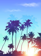 Blue sunrise palms silhouettes vector poster background